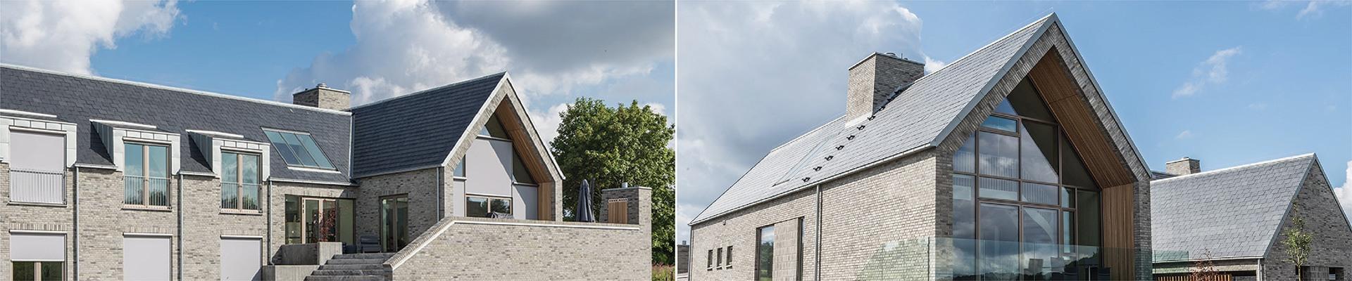 casa con panel solar de pizarra